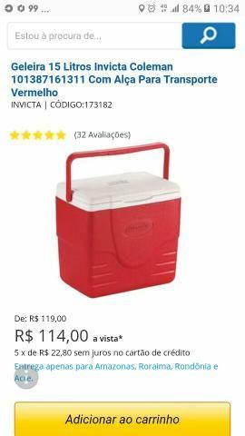 Geleira invicta coleman 15 litros. 80 reais