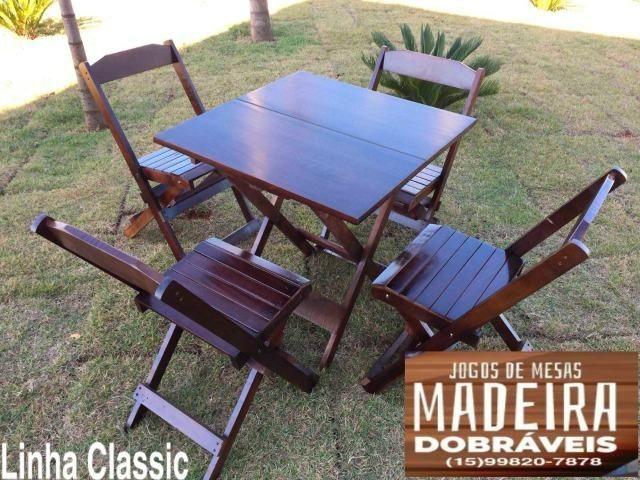Mesas e cadeiras de madeira dobráveis 70x70 - 120x70 e Bistrô! Novos com garantia!!
