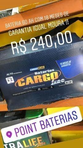 Bateria 60 ah Cargo 18 meses de garantia igual moura por apenas R$ 240,00