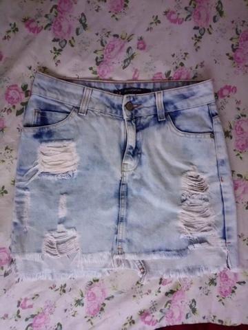 Bazar - Saia Jeans Feminina (número 34)