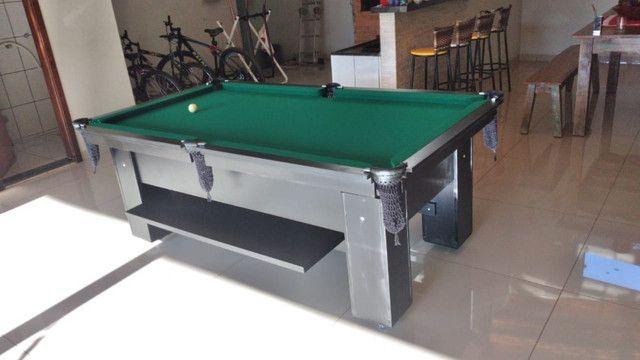 Mesa Charme de Sinuca e Bilhar Cor Preta Tecido Verde Mod. LGVA5128