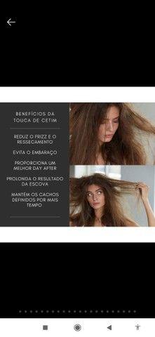 Touca de cetim 60 cm antifriz + prendedor de cabelo  - Foto 2