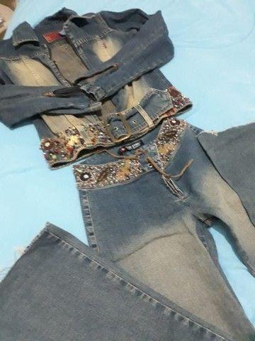 Conjunto jeans bordado a mão - Foto 2