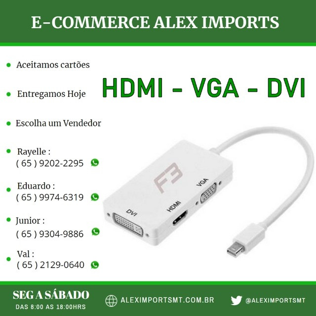 Adaptador Mini DisplayPort Macho pra Hdmi Vga Dvi