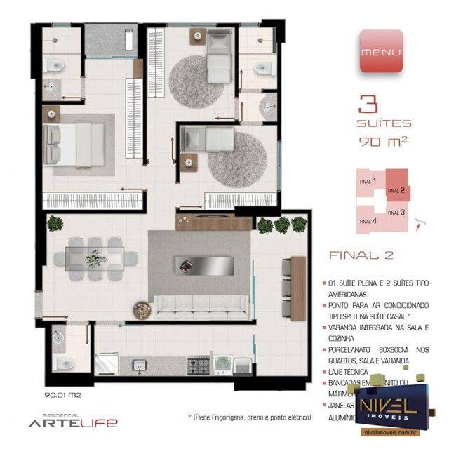 Apartamento com 3 dormitórios à venda, 90 m² por R$ 506.530 - Setor Leste Universitário -  - Foto 4