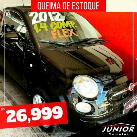 (Júnior Veículos) Fiat 500 1.4 Ano:2012 Completo