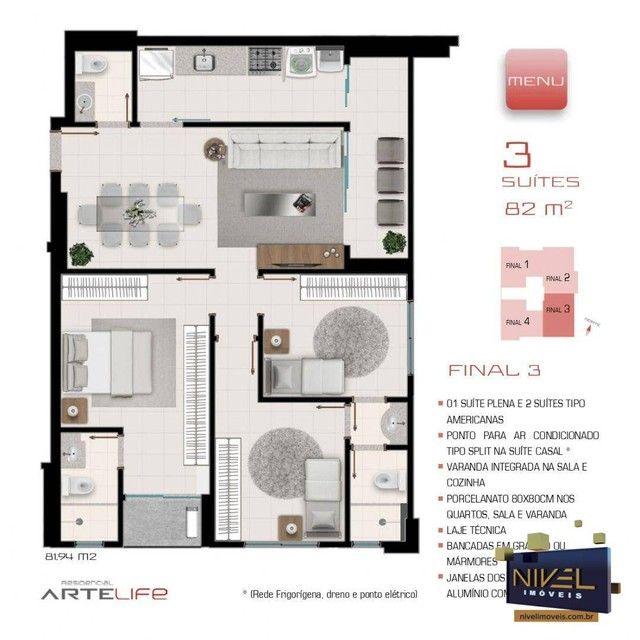 Apartamento com 3 dormitórios à venda, 82 m² por R$ 486.045 - Setor Leste Universitário -  - Foto 4