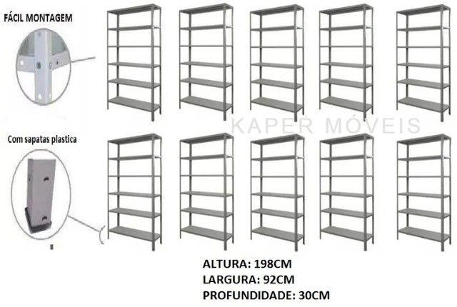 10 Prateleiras de Aço prof. 30cm c / 06 bandejas c / reforço ( nova ) - Foto 3
