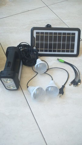 Kit Painel Placa Solar Portatil 3 Lâmpada Led Luz Emergência - Foto 3