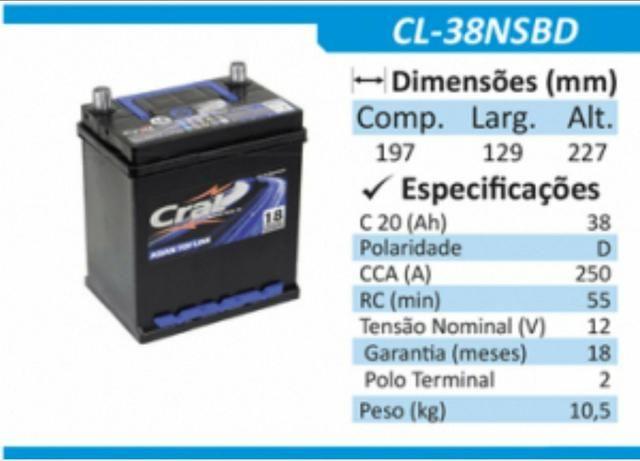 Bateria honda Fit e City 38 amperes - Foto 2