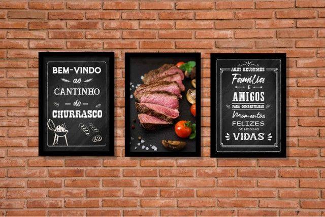 Quadros Decorativos Cantinho do Churrasco Área Gourmet Lazer Com Moldura e Vidro