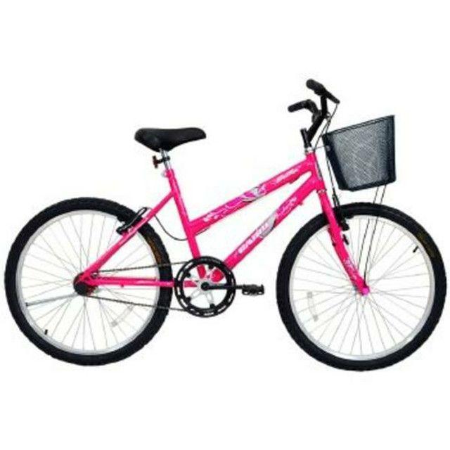 Bicicleta Feminina Aro 24 Rosa Bella Com Cesta Cairu - 310937<br><br>