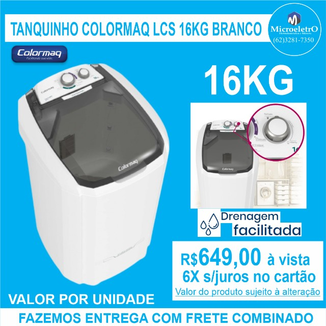 Tanquinho Colormaq LCS 16kg Branco