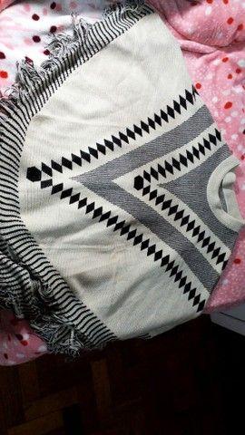 Poncho de tricot tamanho único - Foto 3