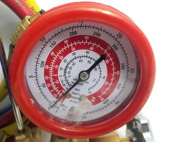 Manifold R22 R134a R404a R407c C/ 3 Mangueiras 90cm - Foto 3