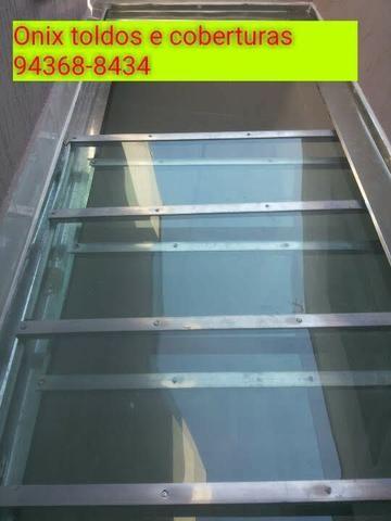 Toldo telhado em Policarbonato ferro sanduicterícia Grades estrutura de ferro em geral - Foto 4