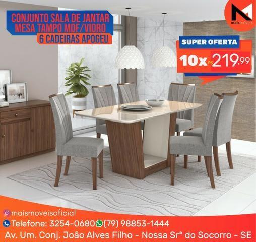 Conjunto Sala de Jantar Mesa Tampo MDF/Vidro 6 Cadeiras
