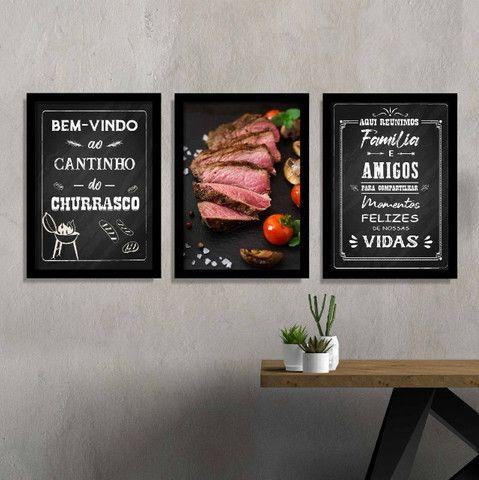 Quadros Decorativos Cantinho do Churrasco Área Gourmet Lazer Com Moldura e Vidro - Foto 4