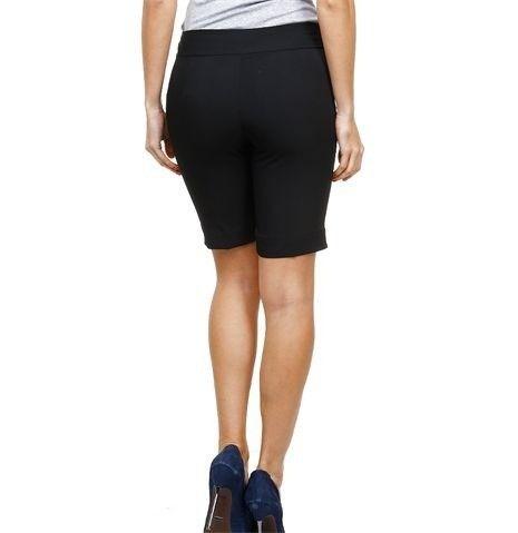 bermuda social feminina cintura alta alfaiatada preta