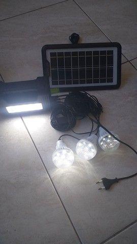 Kit Painel Placa Solar Portatil 3 Lâmpada Led Luz Emergência - Foto 4