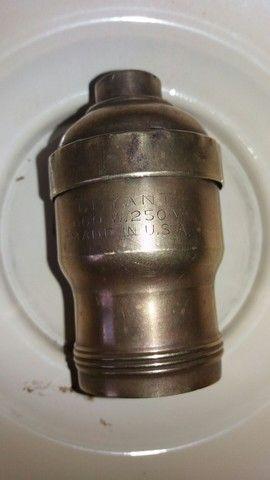 antiga luminaria esmaltada + bocal antigo em bronze  - Foto 6