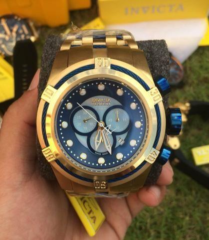 e1aa9e0a5dd Relogio invicta zeus bolt azul dourado esqueleto maletinha ...