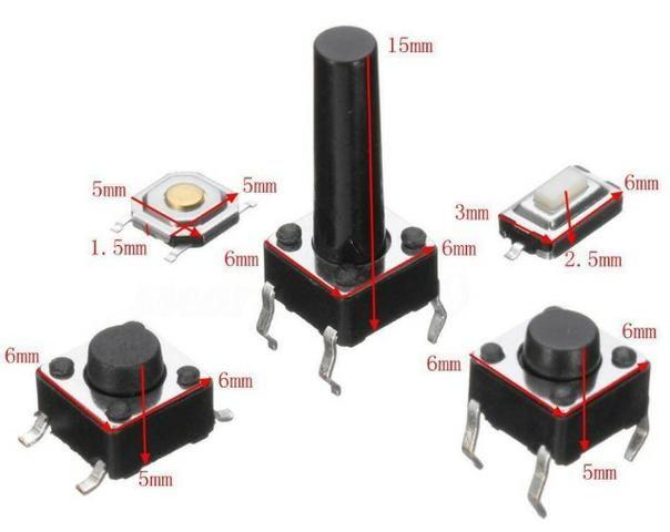 COD-CP64 KIT 20Unidades botões momentâneo Tact tátil Botão Switch Smd (5Modelos) Arduin