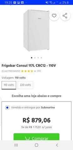 Vendo frigobar Consul 117 litros