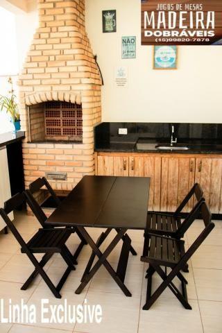 Mesas e cadeiras de madeira dobráveis 70x70 - 120x70 e Bistrô! Novos com garantia!! - Foto 4
