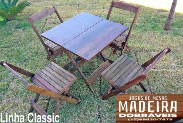 Mesas e cadeiras de madeira dobráveis 70x70 - 120x70 e Bistrô! Novos com garantia!! - Foto 2