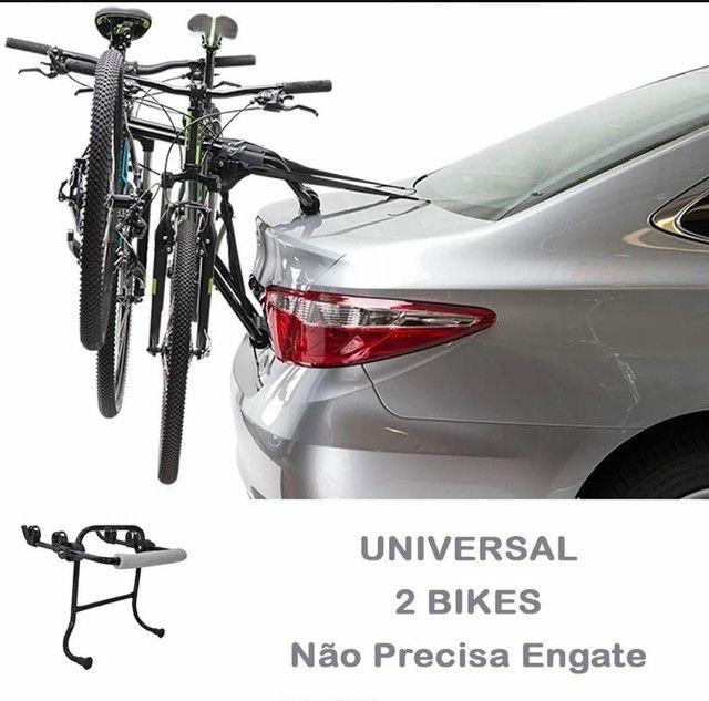 Suporte Transbike Porta-Malas com Presilhas (Carros tipo Sedan e Hatch) - 2 Bikes - Foto 2