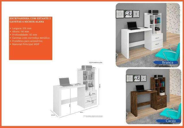Mesa de computador com 2 gavetas e nicho laterais