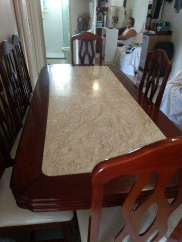 Conjunto mesa 8 lugares mármore travertino