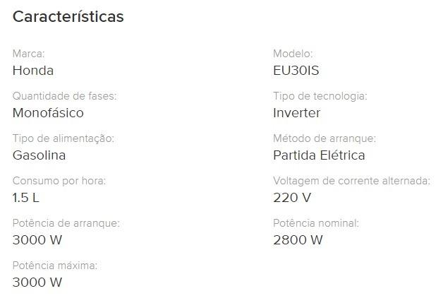 Gerador Inverter Honda Eu30is 220v 3kva Silencioso - Foto 6