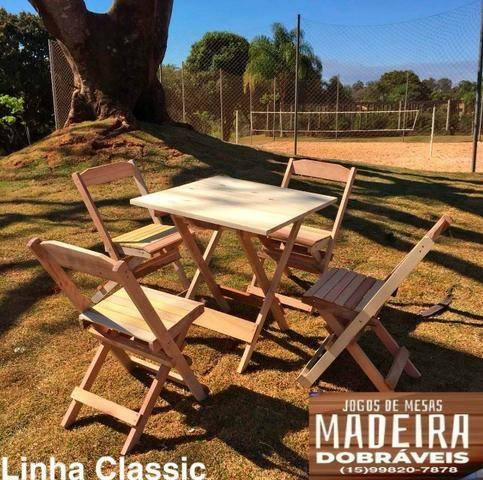 Mesas e cadeiras de madeira dobráveis 70x70 - 120x70 e Bistrô! Novos com garantia!! - Foto 3