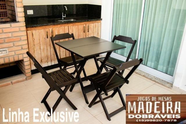Mesas e cadeiras de madeira dobráveis 70x70 - 120x70 e Bistrô! Novos com garantia!! - Foto 5