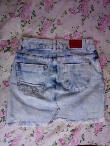 Bazar - Saia Jeans Feminina (número 34) - Foto 2