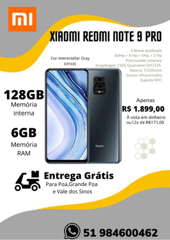 Xiaomi Redmi Note 8 64GB,Note 9Pro 128GB,Note 9S 128GB-NOVO-LACRADO-VERSAO GLOBAL - Foto 2