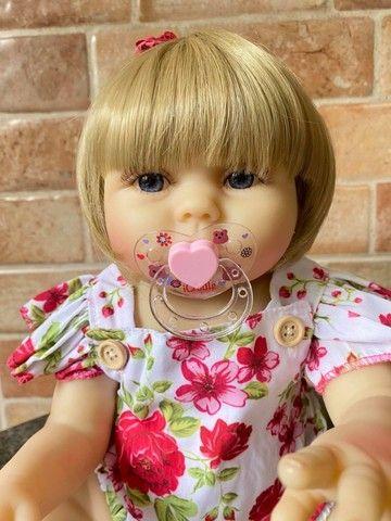 Bebê Reborn toda em Silicone realista loira olhos azuis nova Original (aceito cartão  - Foto 3