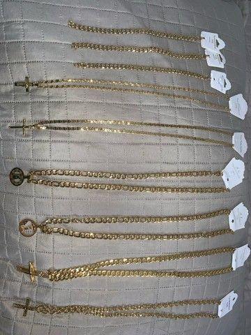 Cordões em aço banhado a ouro - Foto 5