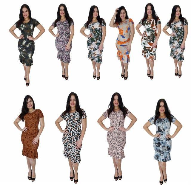 Kit 10 vestidos evangélicos malha canelado com babado  - Foto 2