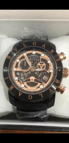 1f14a8631bd Relógio BVLGARI Skeleton Black a prova d água - Bijouterias ...