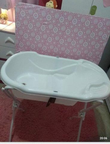 Banheira Com Trocador Tutti Baby - Rosa - Foto 2