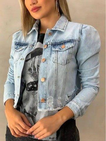 Jaquetas jeans feminina e masculina  - Foto 4