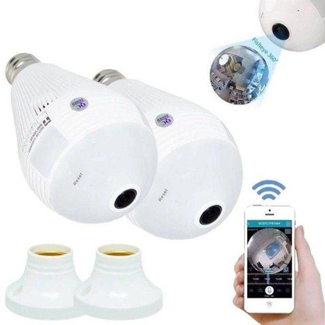 Kit 2 Câmeras Ip Segurança Lâmpada 360 Panorâmica Espia Wifi - Foto 2