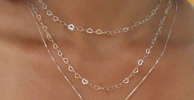 Conjunto cordão e pulseira em prata 925 - Foto 3
