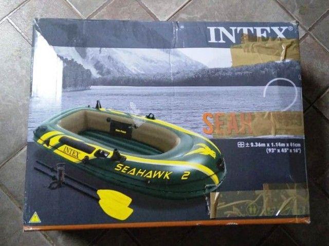 Barco Bote Inflável Seahawk 2 P/ 2 Pessoas - 240kg Intex - nunca usado - Foto 5