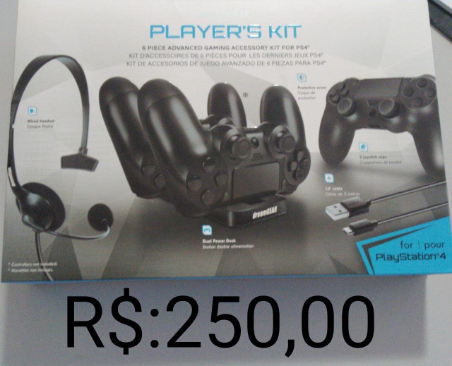 Vendo kit gamer para PS4 ( fone, carregador duplo, capa e cabo) por 250,00