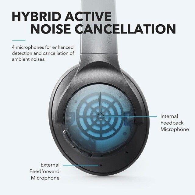 Fone de Ouvido Bluetooth Com Cancelamento de Ruído Ativo Anker Soundcore Life Q20 + Bag - Foto 2