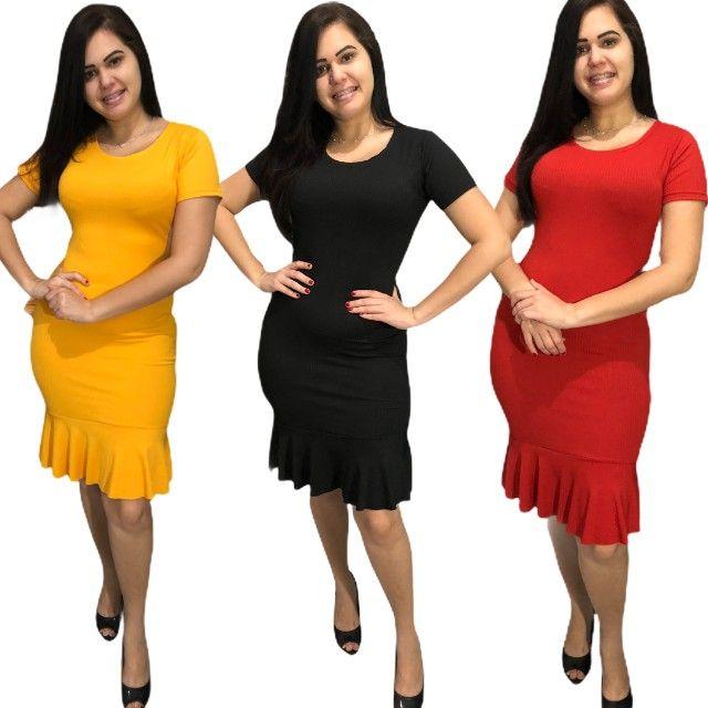 Kit 10 vestidos evangélicos malha canelado com babado